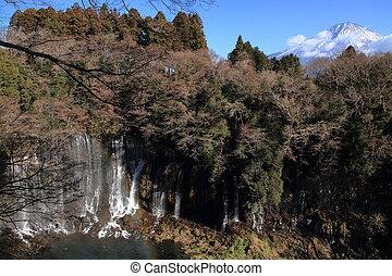 Shiraito falls and Mt. Fuji in Shizuoka, Japan