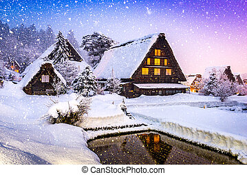 shirakawago, dorf, in, winter