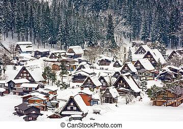 shirakawago, japończyk, wieś