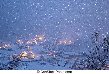 shirakawago, light-up, hóesés