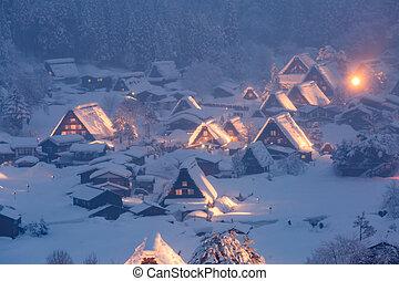 Shirakawago light-up Japan - Winter Landscape of Shirakawago...