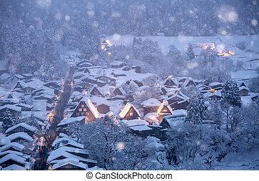 Shirakawago light-up snowfall - Shirakawago light-up with...