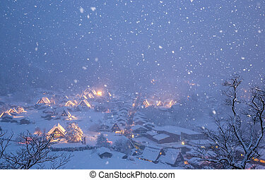 Shirakawago light-up snowfall - Shirakawago light-up with ...