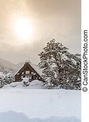 shirakawago, s, slunit se, sněžit