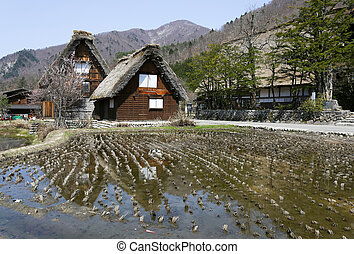 Traditional style huts in Gassho-zukuri Village, Shirakawago and Gokayama, World Heritage Site, Japan