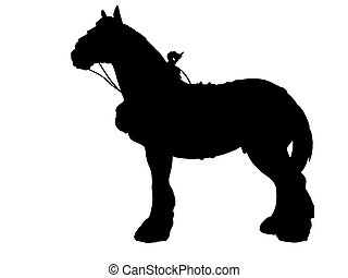 Shire horse silhouette - Shire horse with collar and harness...