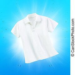 shirt., 白, きれいにしなさい, 手を持つ