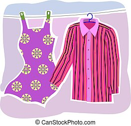 shirt and gown in clothing line - Illustration of shirt and...