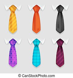 Shirt and tie realistic icons set bacground 3d design vector illustration