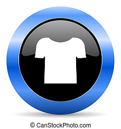 Shirt black and blue web design round internet icon with shadow on white background.