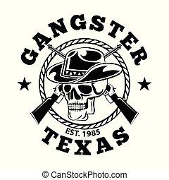 shirt concept design of skull cowboy