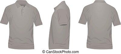 shirt., costas, frente, t, pólo, vista lateral