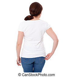 Shirt design and people concept - close up of woman in blank white t-shirt rear isolated. Clean empty mock up template for design.