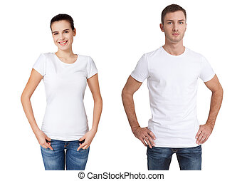 Shirt design and people concept - close up of young man and woman in blank white t-shirt isolated.