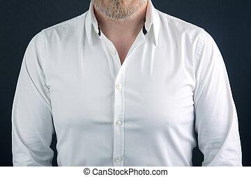 shirt dressed on a bearded man