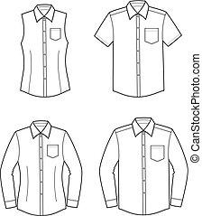 Shirt - Vector illustration. Set of men's and women's...