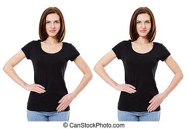 shirt., girl, t, noir, tshirt, isolé, collage, caucasien, blanc, femme, vide, fond, gabarit