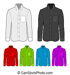 Shirt in various colors. Vector Illustration on white background.