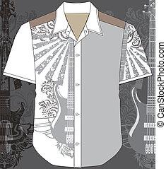 shirt., mężczyźni, wektor, ilustracja