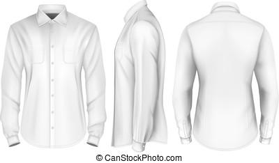 shirt., mens, sleeved, langer, förmlichkeit