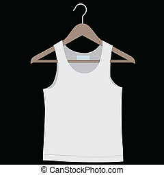 Shirt on a hanger for clothes. Vector illustration.