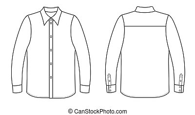 Outline black-white shirt vector illustration isolated on white. EPS8 file available. You can change the color or you can add your logo easily.