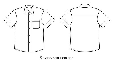 Shirt - Outline black-white shirt vector illustration...