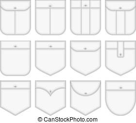 Shirt pockets. - Vector collection of shirt pockets. No...