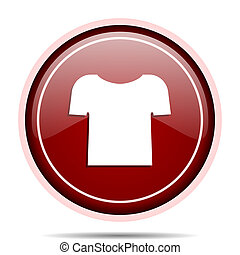 Shirt red glossy round web icon. Circle isolated internet button for webdesign and smartphone applications.
