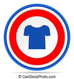 Shirt round icon, red, blue and white french design illustration for web, internet and mobile applications