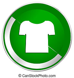 Shirt silver metallic border green web icon for mobile apps and internet.
