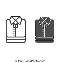 Shirt stack line and solid icon, shopping concept, stacked folded clothes sign on white background, Stack of shirt icon in outline style for mobile concept and web design. Vector graphics.