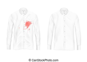 Shirt stain remover experiment vector concept - Pare of...
