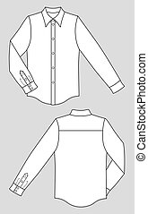 Shirt - Outline black-white shirt vector illustration...