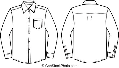 Vector illustration of business shirt. Front and back views