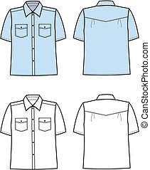 Vector illustration of men's shirt. Front and back views