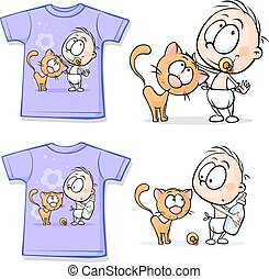 Shirt with Cute Baby and cat - vect