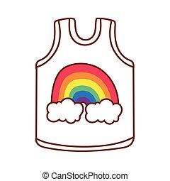 shirt with cute rainbow gay flag line and fill style icon