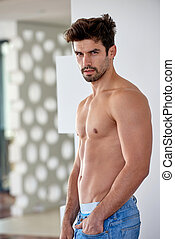 shirtles handsome young man in jeans - nude shirtles...