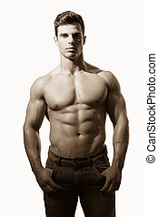 shirtless, 人, 筋肉, 肖像画