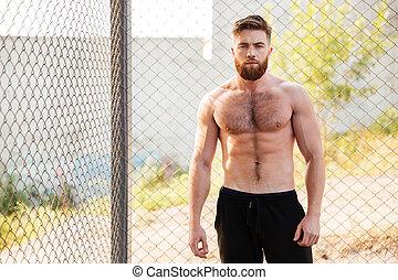 shirtless, 屋外で, フィットネス, の間, 人, 試し, ハンサム