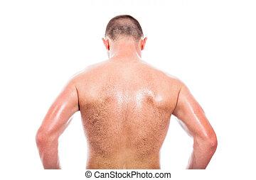 shirtless, aanzicht, back, man