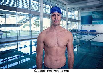 shirtless, ajustar, nadador, por, a, piscina