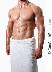 shirtless, asciugamano, bianco, muscolare, uomo