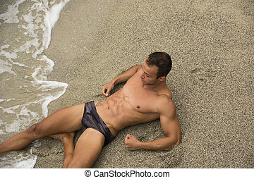 shirtless, attraente, completo, spiaggia, muscleman, dire bugie, nuoto