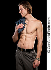 shirtless, attraente, uomo