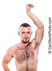 shirtless, behaarter , mann, posierend