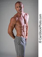 shirtless, bello, muscolare, uomo