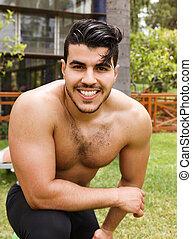 shirtless, bello, uomo