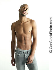 Shirtless black male fashion model